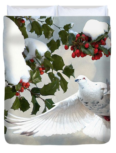 White Dove And Holly Duvet Cover