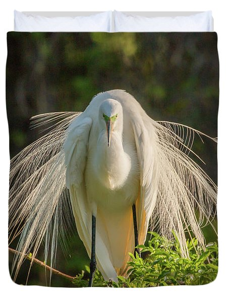 White Egret Duvet Cover