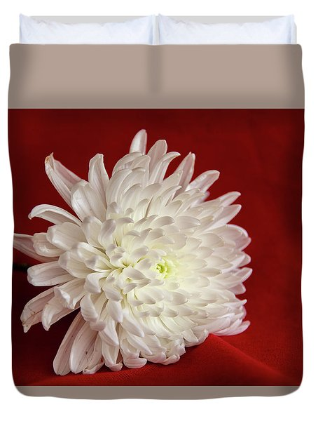White Flower On Red-1 Duvet Cover
