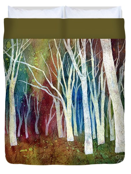 Duvet Cover featuring the painting White Forest I by Hailey E Herrera