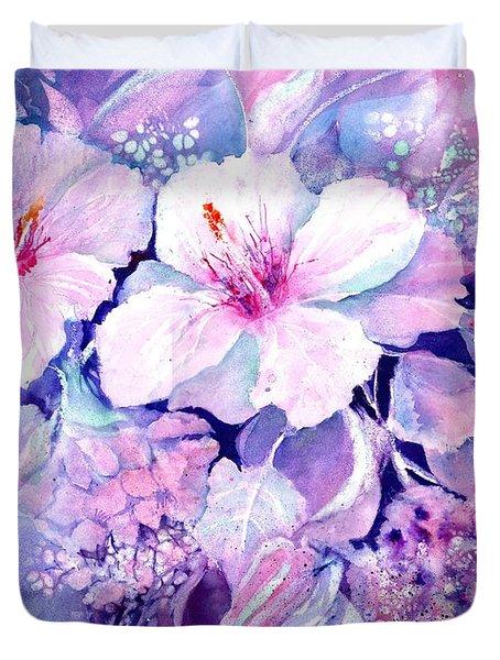 White Hibiscus And Hydrangeas Duvet Cover