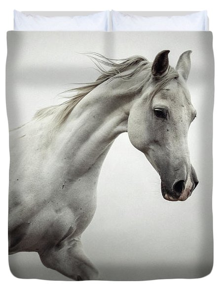 Duvet Cover featuring the photograph White Horse On The White Background Equestrian Beauty by Dimitar Hristov