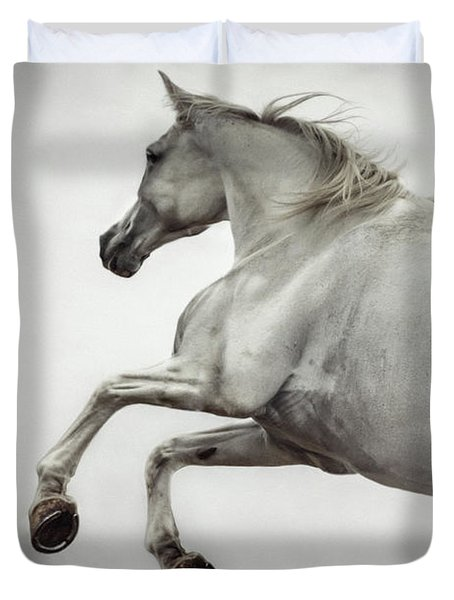 Duvet Cover featuring the photograph White Horse Rearing Up by Dimitar Hristov