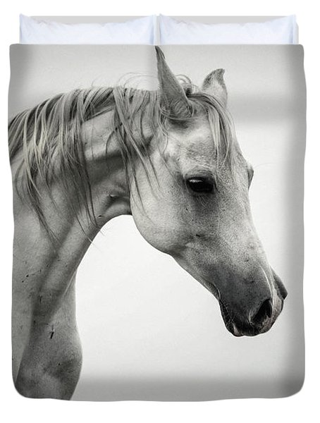 Duvet Cover featuring the photograph White Horse Winter Mist Portrait by Dimitar Hristov