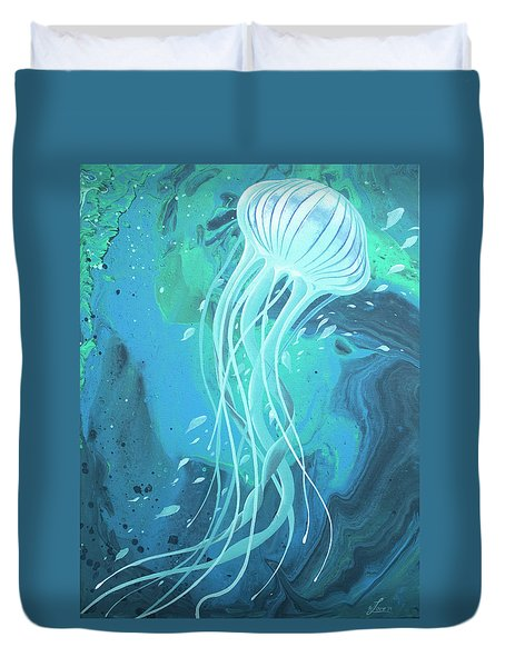 Duvet Cover featuring the painting White Jellyfish by William Love