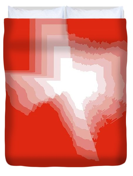 White Map Of Texas Duvet Cover