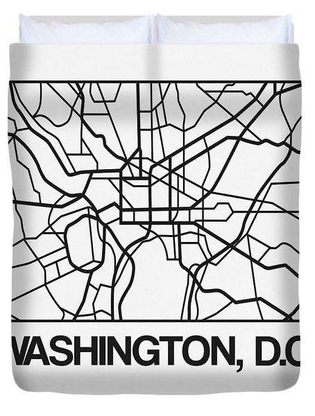 White Map Of Washington, D.c. Duvet Cover