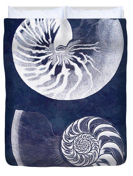 White Nautilus On Blue Duvet Cover