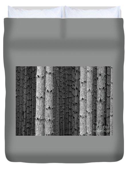 White Pines Black And White Duvet Cover