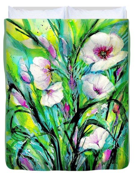 White Poppy Flowers Duvet Cover