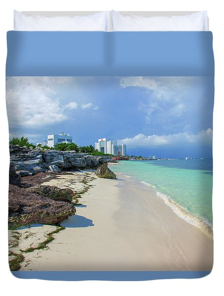 White Sandy Beach Of Cancun Duvet Cover