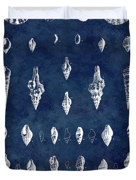 White Shells On Blue Duvet Cover