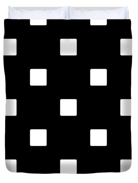 White Squares On A Black Background- Ddh576 Duvet Cover