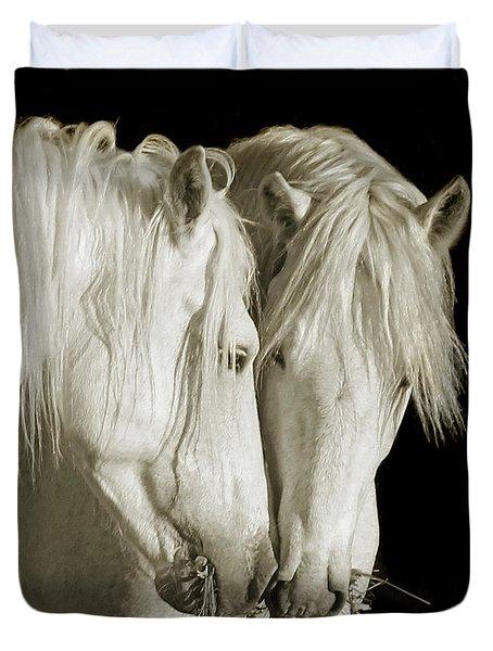 White Stallions Duvet Cover