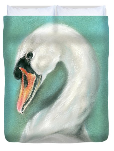 White Swan Portrait Duvet Cover