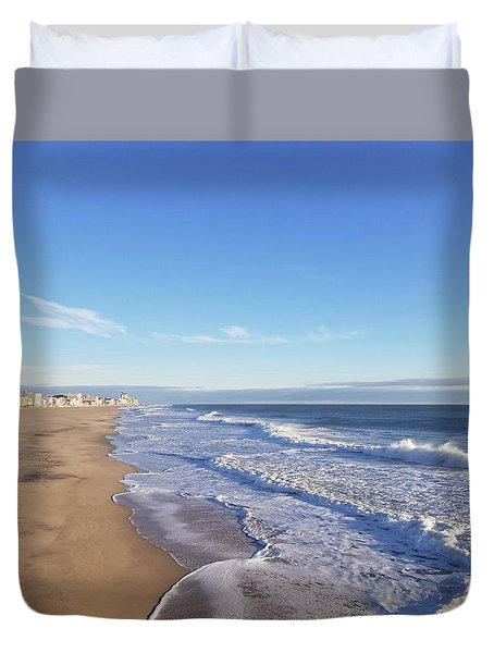 Duvet Cover featuring the photograph White Waves by Robert Banach