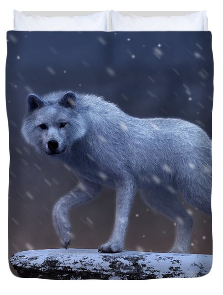 Duvet Cover featuring the digital art White Wolf In A Blizzard by Daniel Eskridge