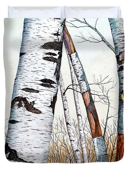 Wild Birch Trees In The Forest In Watercolor Duvet Cover