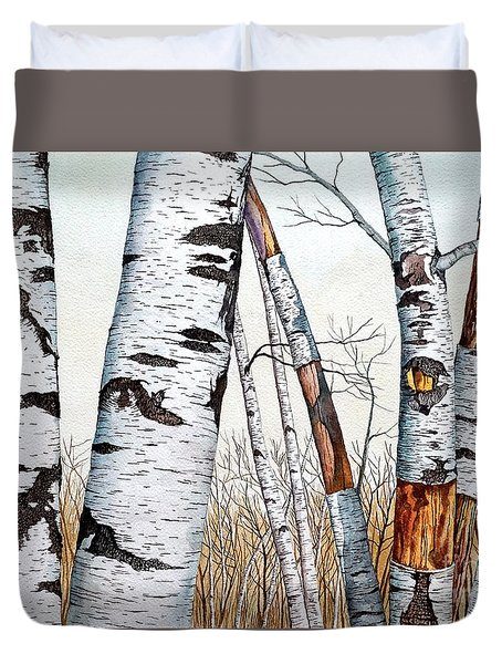 Wild Birch Trees In The Forest Duvet Cover