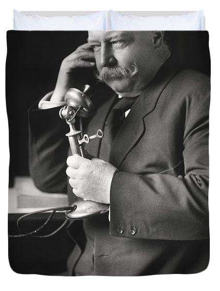 William Howard Taft On Telephone - 1908 Duvet Cover