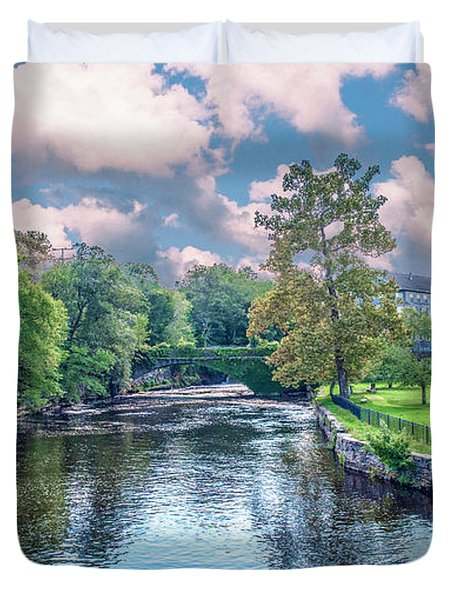 Willimantic River With Clouds Duvet Cover
