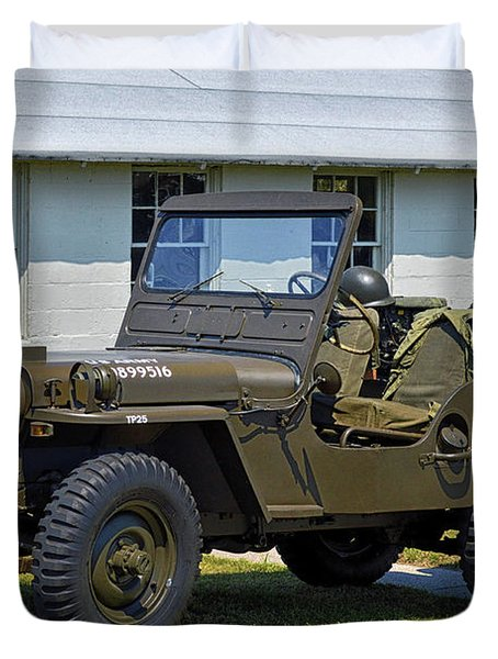 Duvet Cover featuring the photograph Willys Army Jeep 20899516 At Fort Miles by Bill Swartwout Fine Art Photography