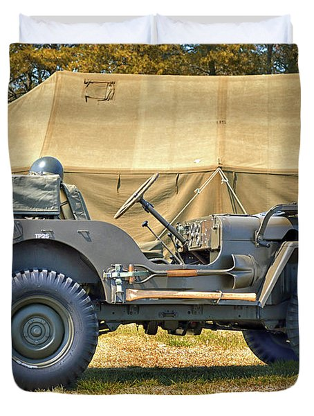 Duvet Cover featuring the photograph Willys Jeep U S A 20899516 At Fort Miles by Bill Swartwout Fine Art Photography