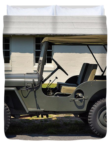 Duvet Cover featuring the photograph Willys Jeep Usa With Canopy At Fort Miles by Bill Swartwout Fine Art Photography