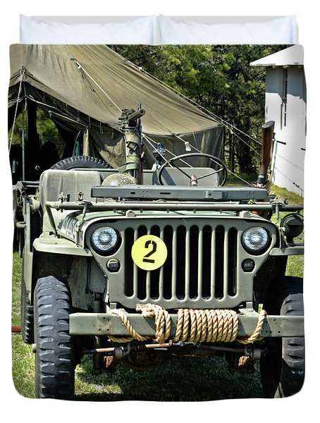 Duvet Cover featuring the photograph Willys Jeep With Machine Gun At Fort Miles by Bill Swartwout Fine Art Photography