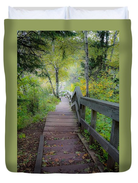 Winding Stairs In Autumn Duvet Cover