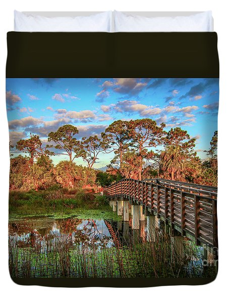Duvet Cover featuring the photograph Winding Waters Boardwalk by Tom Claud