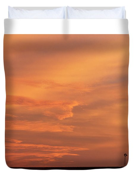 Duvet Cover featuring the photograph Windmill And Afterglow 02 by Rob Graham