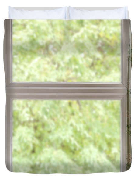 Window With Curtains Duvet Cover