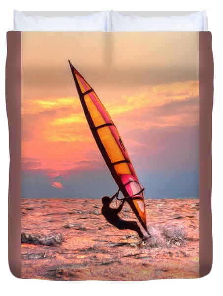 Windsurfing At Sunrise Duvet Cover