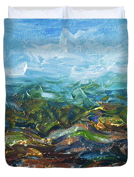 Duvet Cover featuring the painting Windy Day In The Grassland. Original Oil Painting Impressionist Landscape. by OLena Art Brand