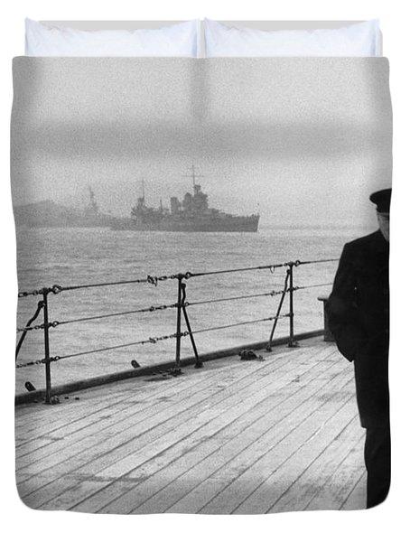 Winston Churchill At Sea Duvet Cover