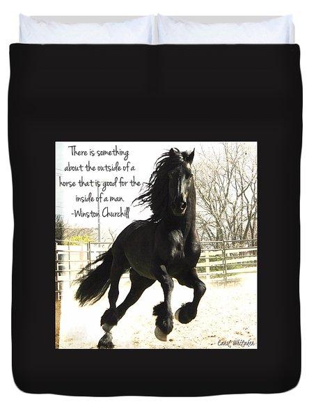 Winston Churchill Horse Quote Duvet Cover