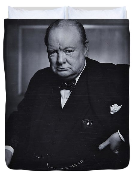 Winston Churchill In The Canadian Parliament Duvet Cover