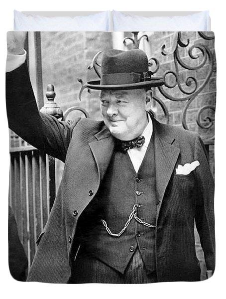 Winston Churchill Showing The V Sign Duvet Cover