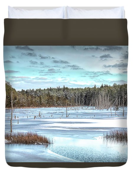Duvet Cover featuring the photograph Winter At Lake Oswego by Kristia Adams