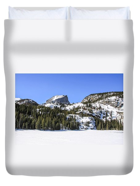 Duvet Cover featuring the photograph Winter At Notchtop Mountain by Dawn Richards