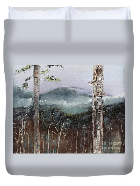 Duvet Cover featuring the painting Winter At Pink Knob In Ellijay by Jan Dappen