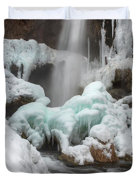 Winter At Rifle Falls Colorado Duvet Cover