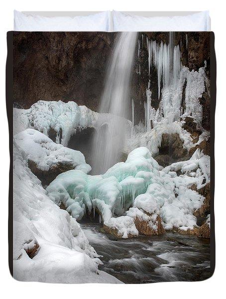 Winter At Rifle Falls Colorado Duvet Cover