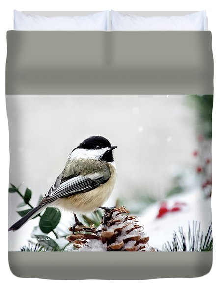 Winter Chickadee Duvet Cover