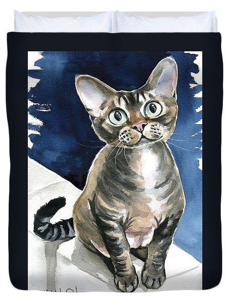 Winter Devon Rex Cat Painting Duvet Cover