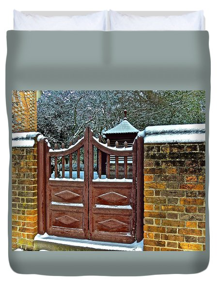 Duvet Cover featuring the photograph Winter Gate by Don Moore