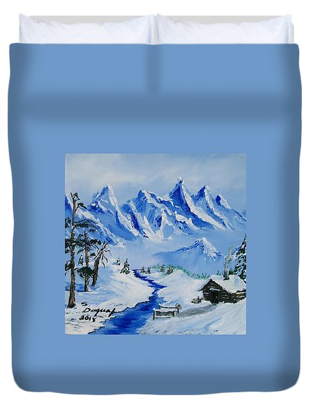 Winter In The Rockies Duvet Cover