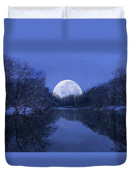 Winter Night On The Pond Duvet Cover