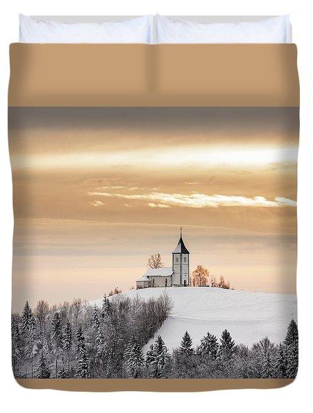 Winter Sunrise At Jamnik Church Of Saints Primus And Felician Duvet Cover